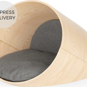 Kyali Oval Pet Bed Medium, Natural Ash and Grey