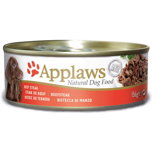 Applaws Beef Steak Tins Wet Dog Food 156g x 12