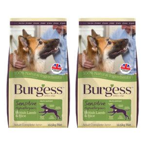 Burgess Complete Sensitive Lamb & Rice Adult Dog Food 12.5kg x 2