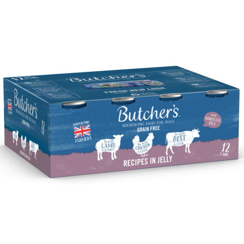 Butchers Meaty Recipes in Jelly Dog Food Tins 400g x 12