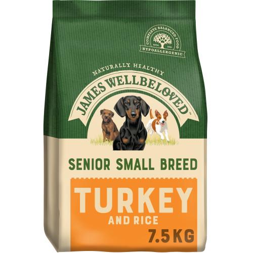 James Wellbeloved Small Breed Turkey & Rice Senior Dog Food 7.5kg