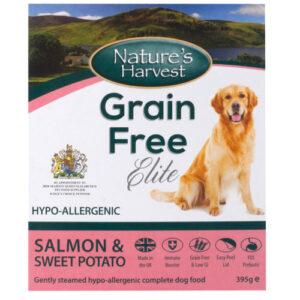 Natures Harvest Grain Free Salmon & Sweet Potato Adult Dog Food 395g x 10
