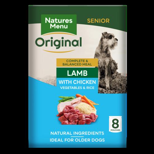 Natures Menu Lamb Vegetables & Rice Senior Dog Food Pouches 300g x 8