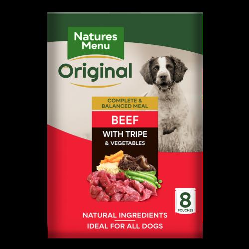 Natures Menu Original Beef & Tripe Adult Dog Food Pouches 300g x 8