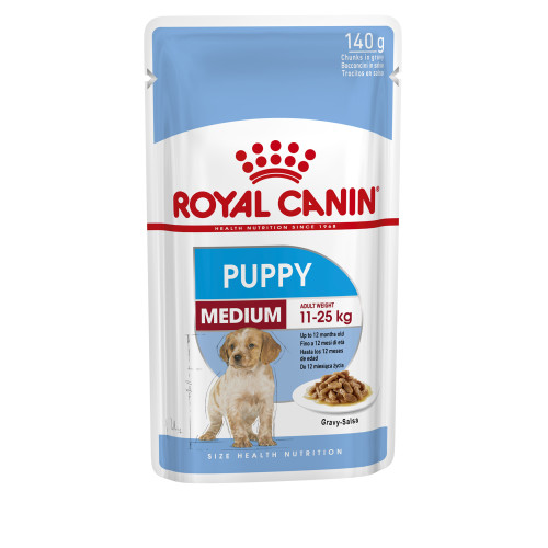 Royal Canin Medium Puppy Pouches in Gravy 140g x 10