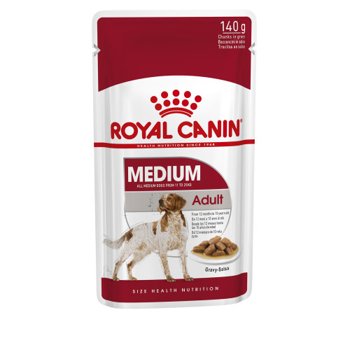 Royal Canin Medium Wet Adult Dog Food Pouches in Gravy 140g x 10