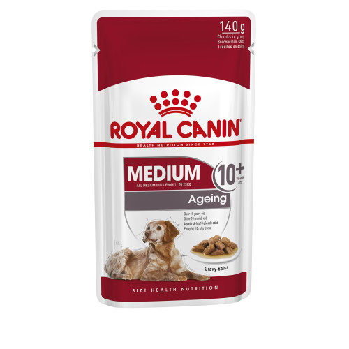 Royal Canin Medium Wet Ageing Senior Dog Food Pouches in Gravy 140g x 10