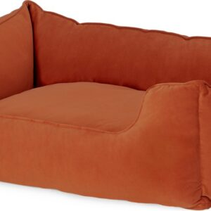 Kysler Pet Bed, Extra Large, Burnt Orange Velvet