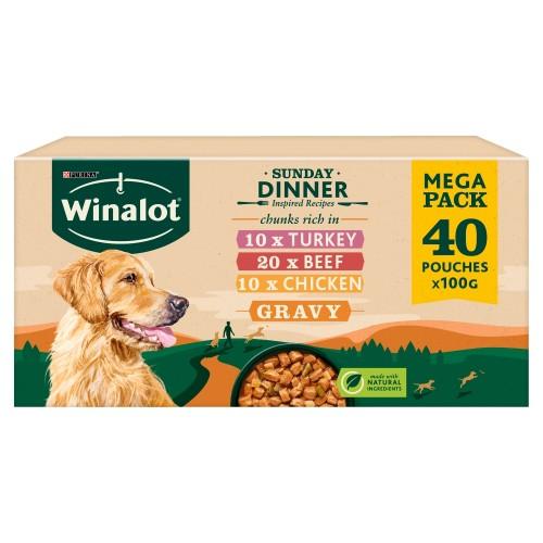 Winalot Sunday Dinner in Gravy Adult Dog Food 100g x 80 SAVER PACK